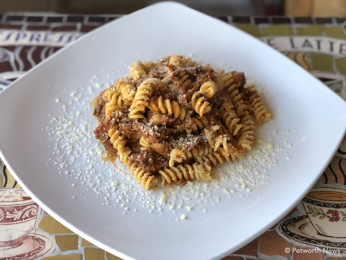 Fusilli Rustici -- a big plate makes it look small, and it's more than delicious.