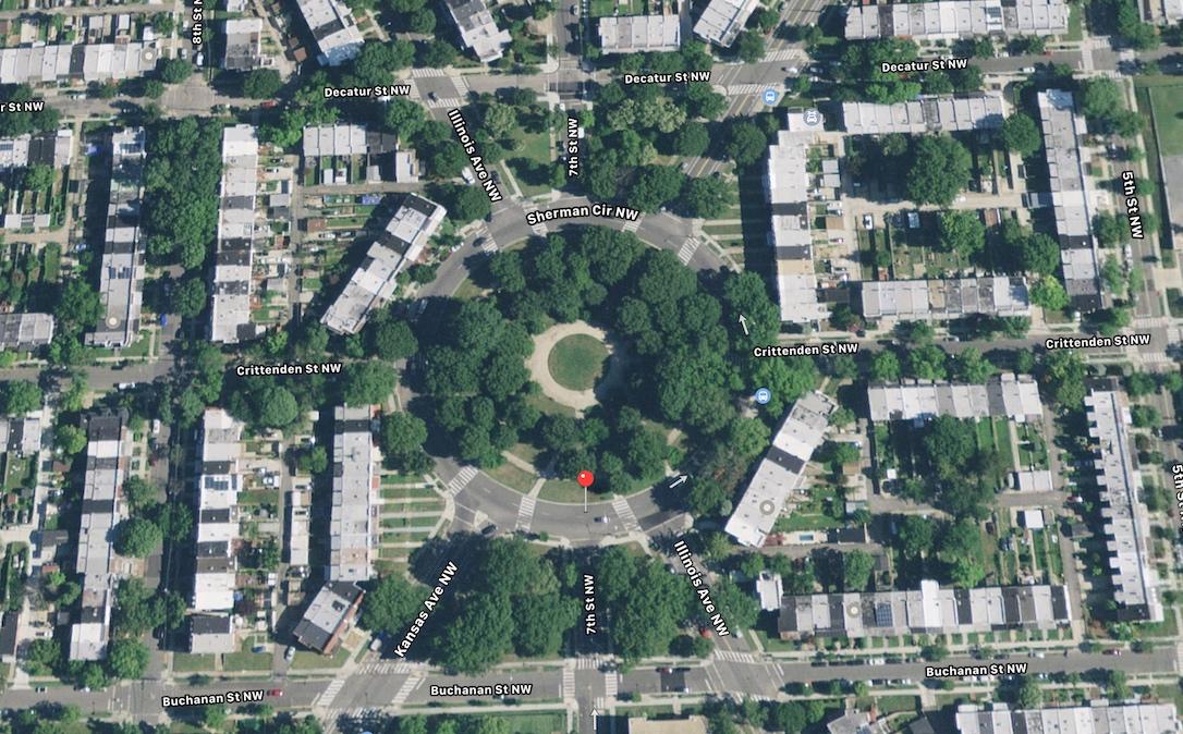 Satellite view of Sherman Circle (Apple Maps)