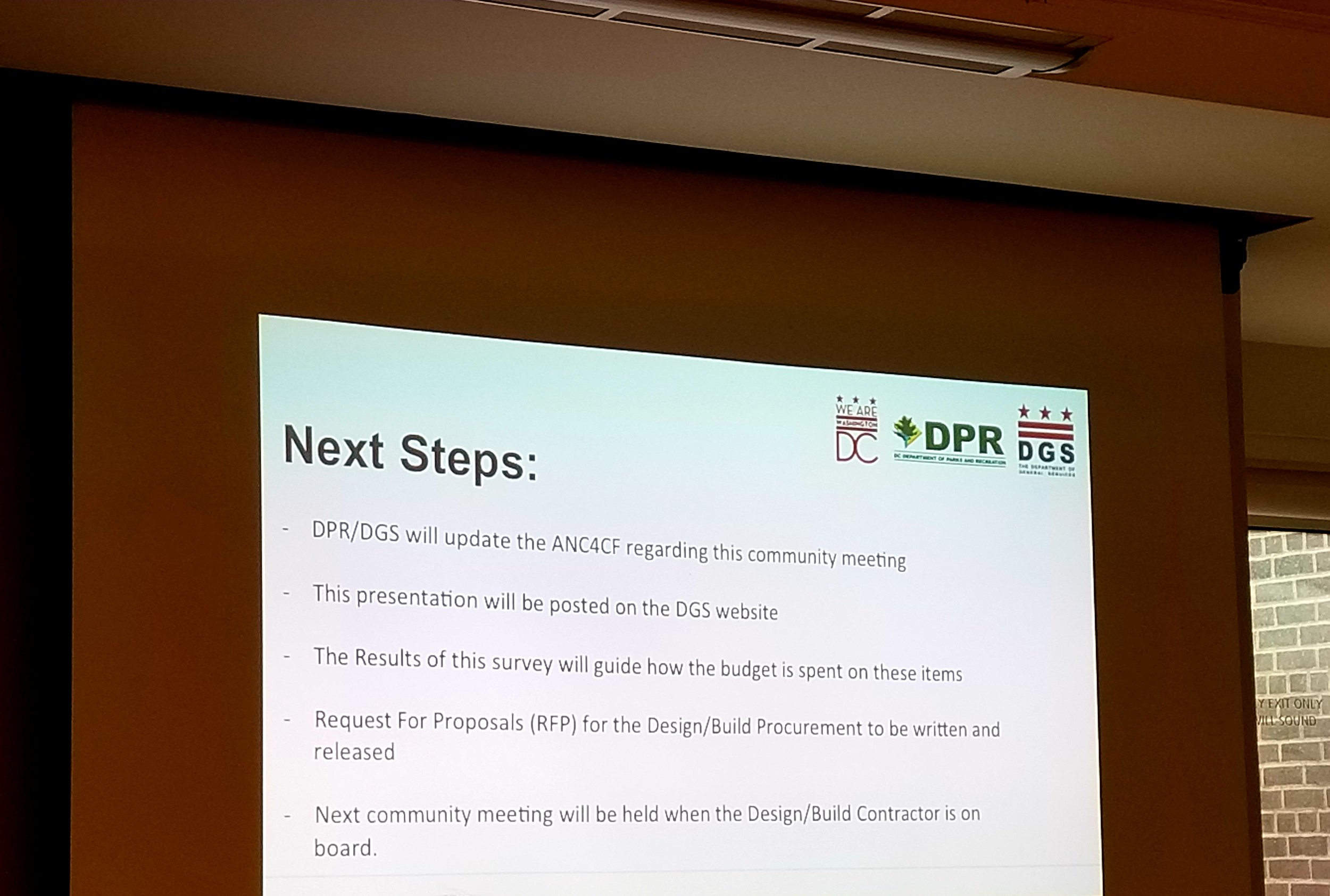 Proposed next steps in the Petworth Park renovation.