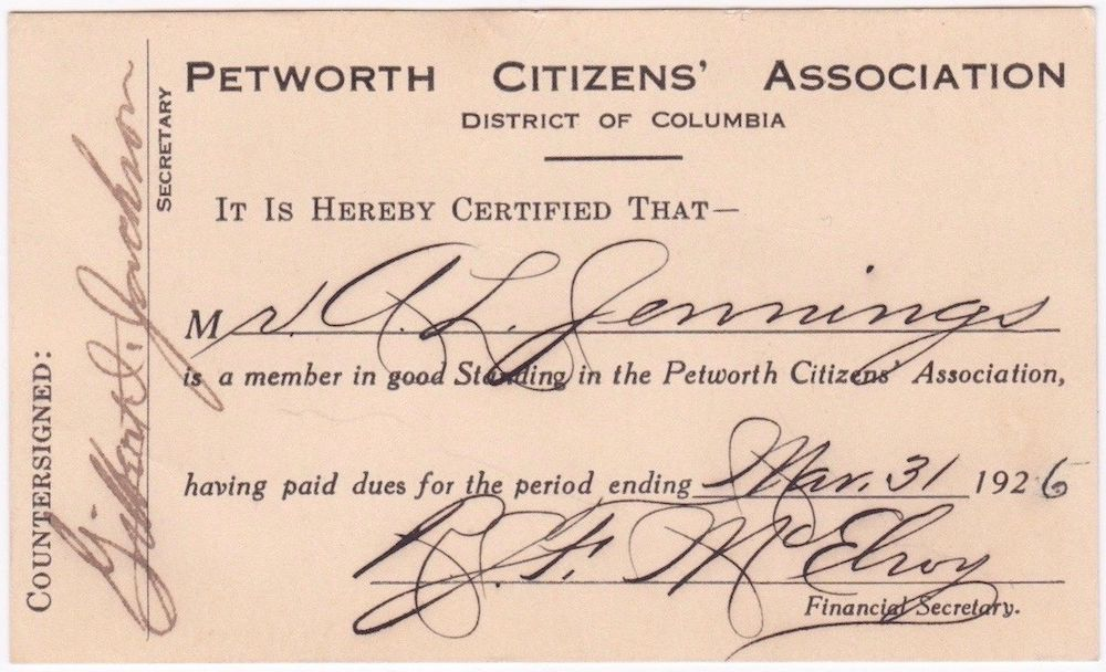 A Petworth Citizens' Association membership card from 1925. (photo:  eBay )
