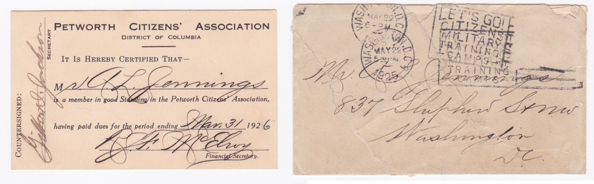 The card and the envelope from 1925. (photo:  eBay )