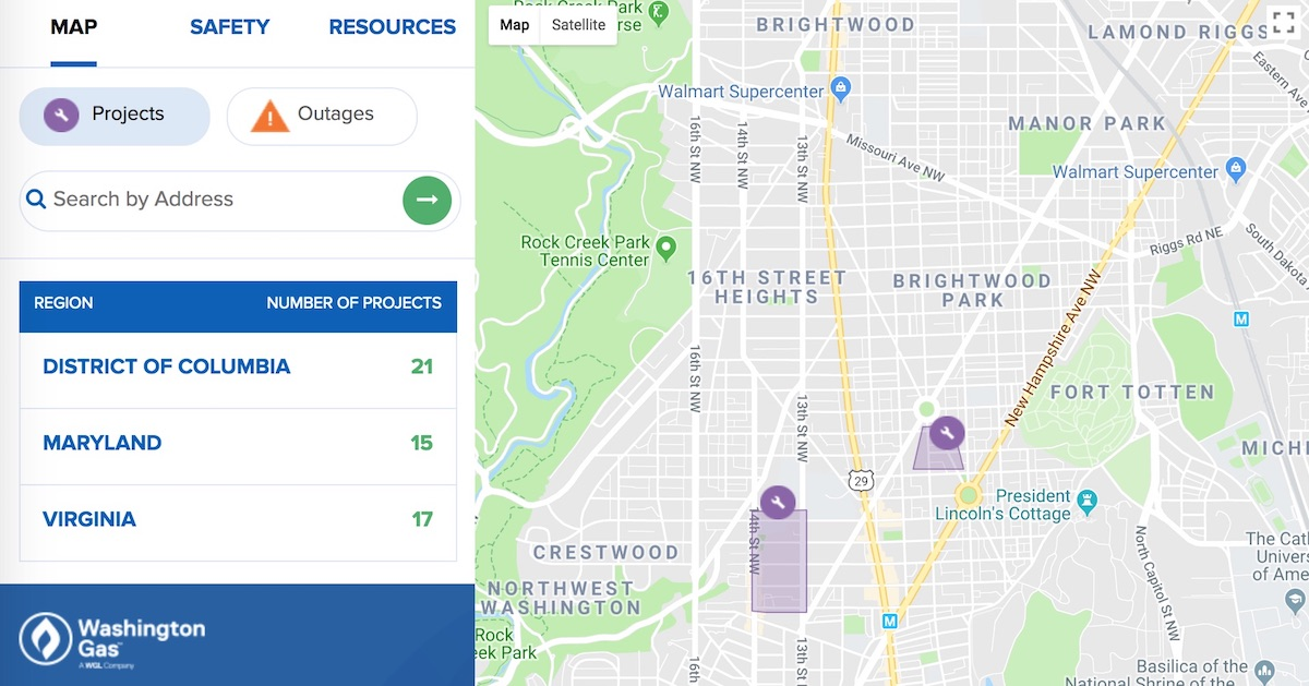 Washington Gas offers a website to track their ongoing work projects and outages.