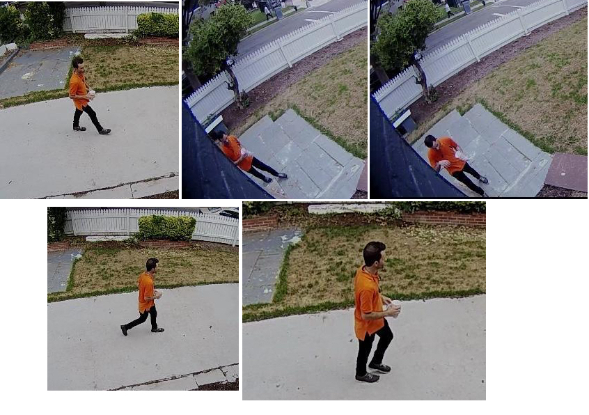 It's not like this fellow was thirsty... he has a drink in his hand. (Images from resident's security camera, posted to Next Door website).