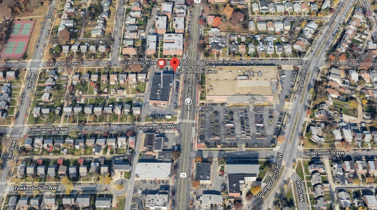 CVS, corner of Van Buren & Georgia, was robbed on Saturday, Sept 1st. (image: Google Maps)