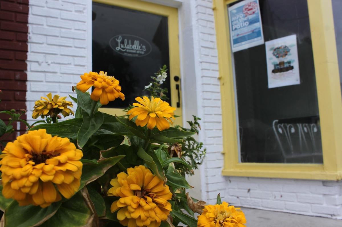 Zinnias color coded with the door, windows and ice cream cups of Lulabelle's Sweet Shop.