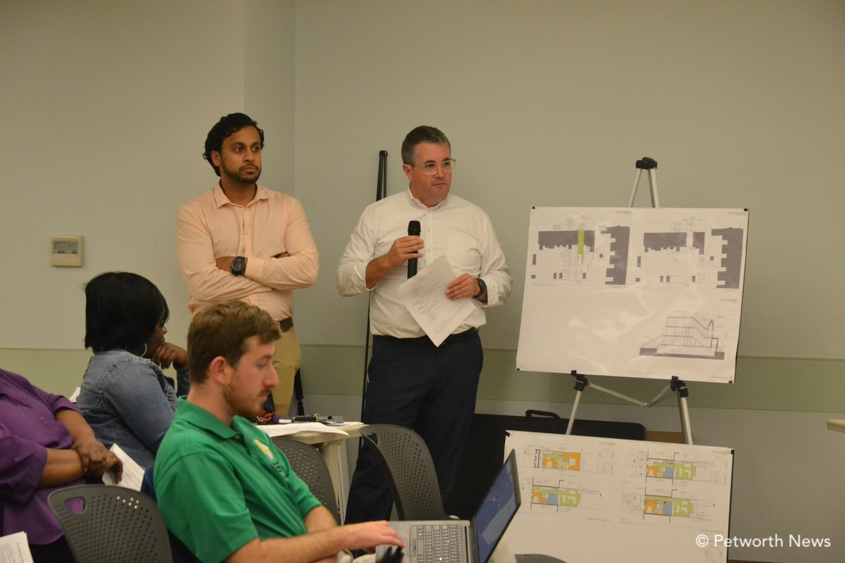 Developer and architect speaking about 716 Upshur redevelopment.