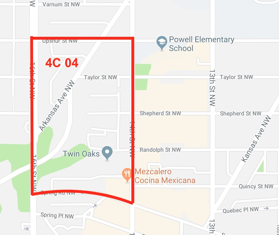 Single Member District 4C04 goes from Spring Road in the south, up to Upshur Street, with 14th and 16th Streets bordering.