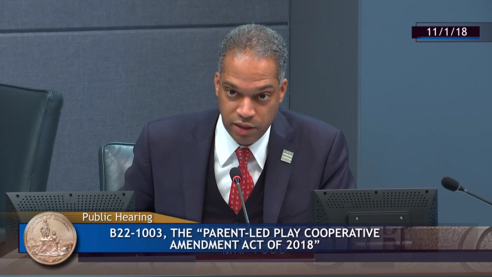 Todd speaking at the hearing.