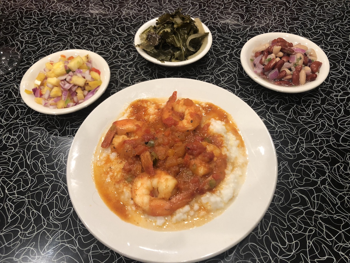 The new shrimp and grits at Slim's, with pineapple salsa, collard greens and bean ragu. (photo: Slim's Diner)