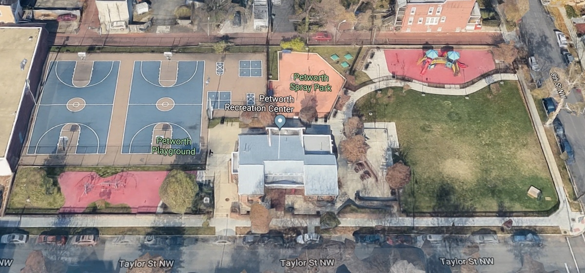Google satellite view of the Petworth Park at 8th & Taylor Sts NW