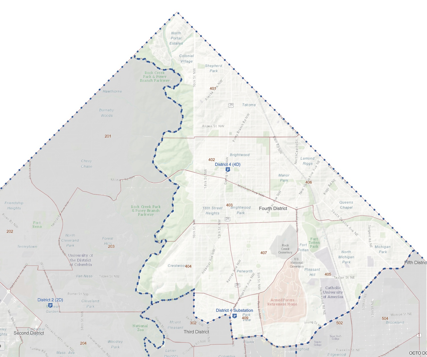 Map of MPD Police Service Areas in the Fourth District (courtesy  MPD )