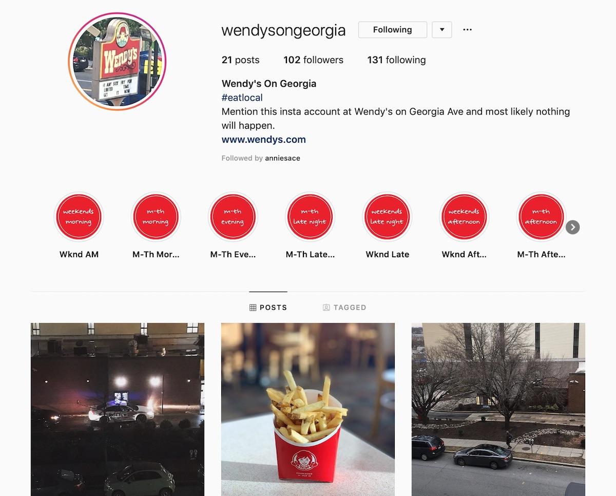 A screen capture of the WendysonGeorgia Instagram account