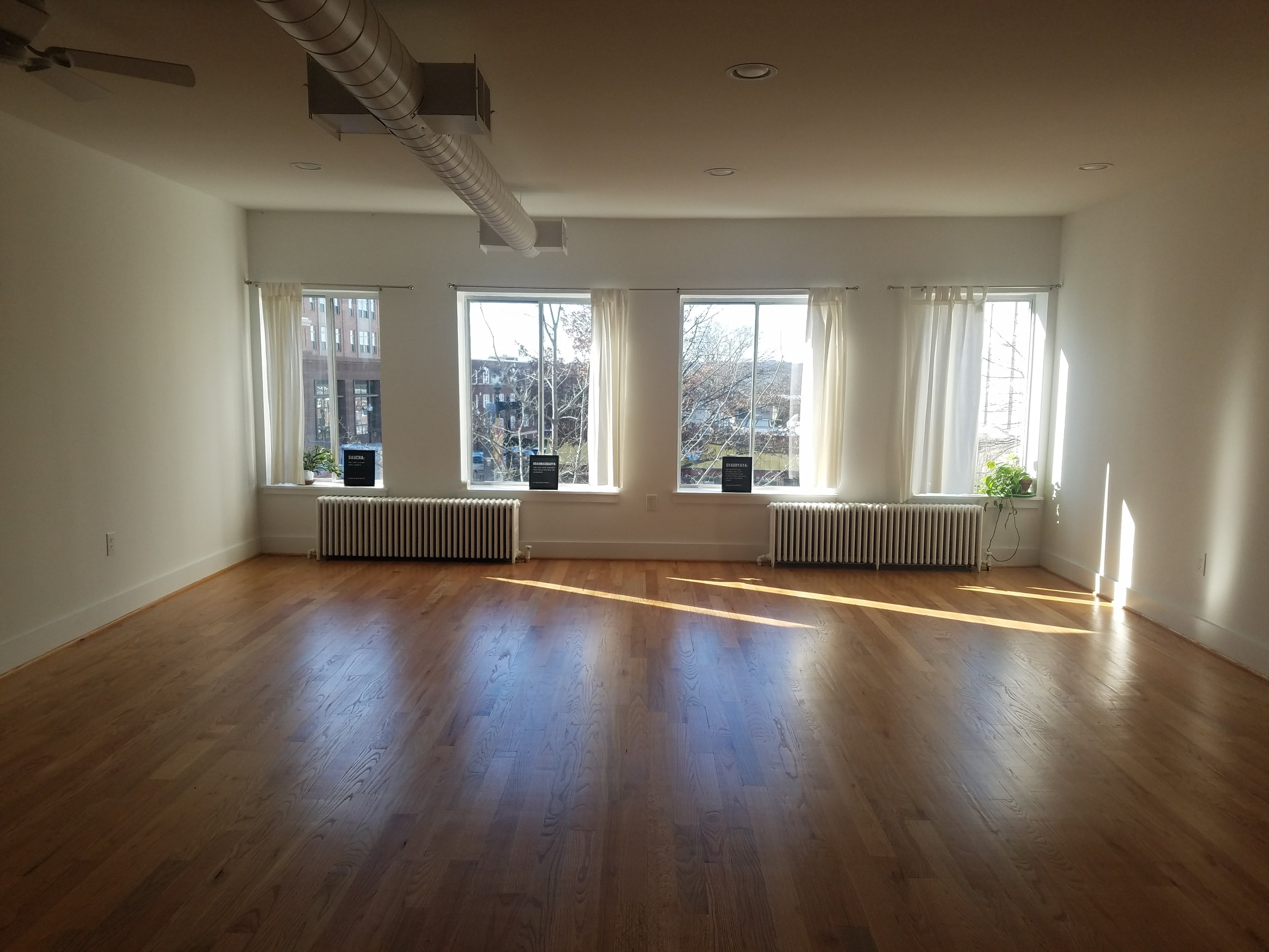 The inside of the Yoga District Petworth studio.