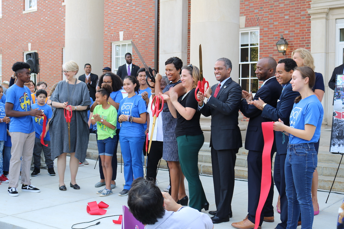 Councilmember Todd cuts the ribbon on DC International School,  one of Ward 4's newest dual language programs, located on the Walter Reed Campus.