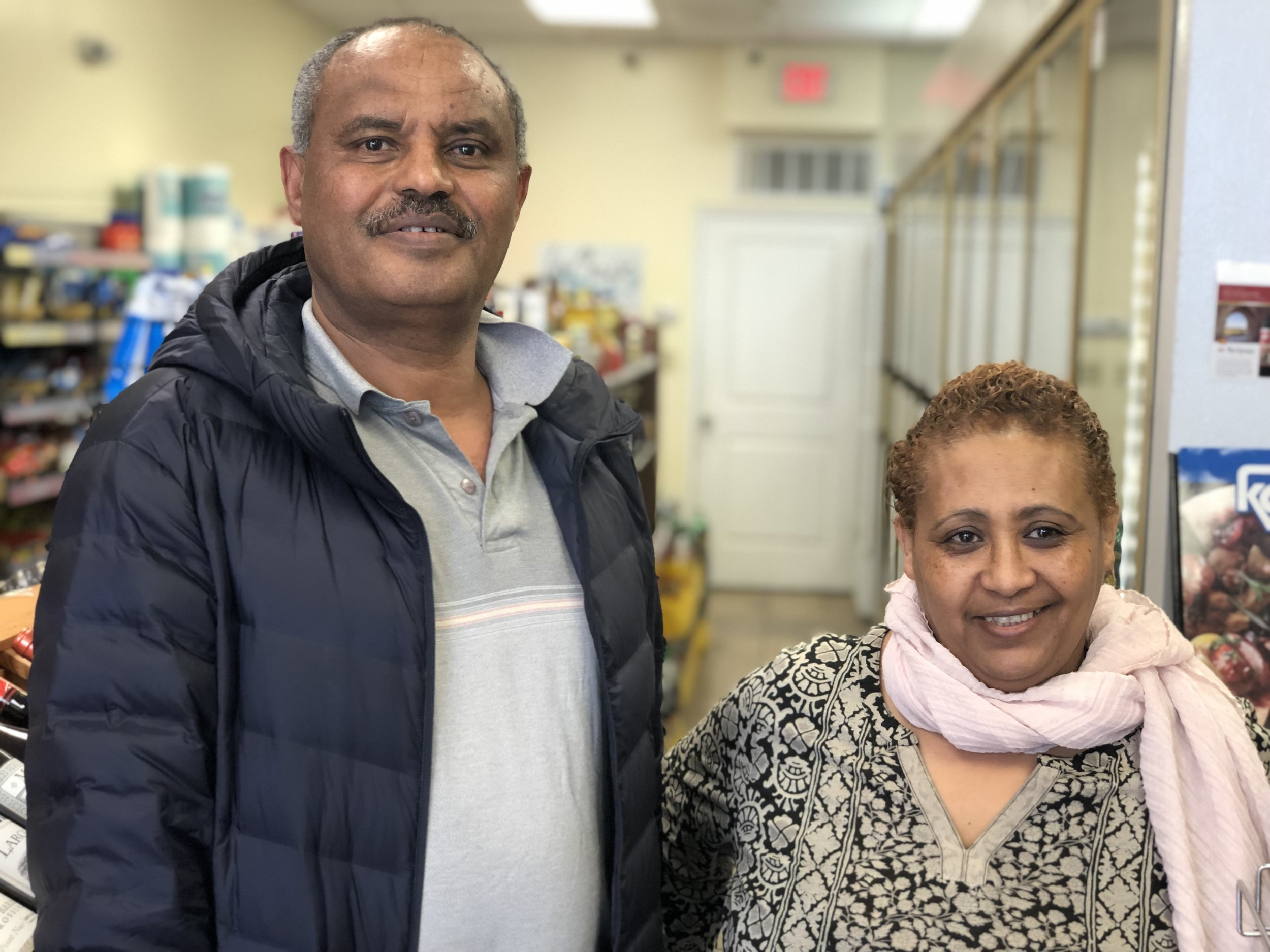 Teshome Checkole and his wife Meaza at the store.