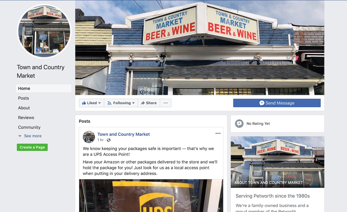 The new Facebook Page for  Town & Country Market  on Upshur
