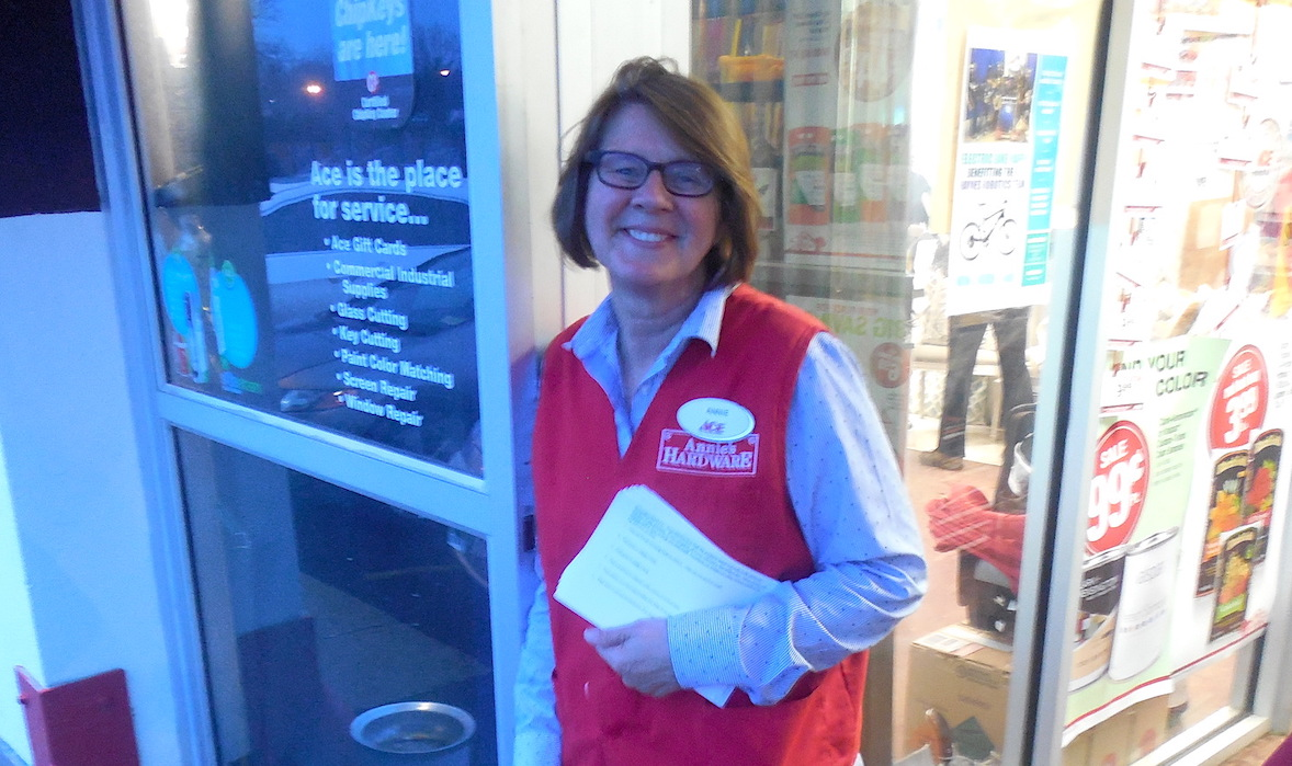 Anne Stom out front of Annie's Ace Hardware