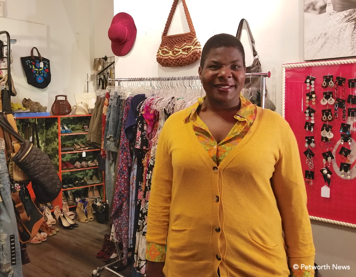 Fia Thomas inside her shop, Fia's Fabulous Finds, which opened on Upshur Street in 2011.
