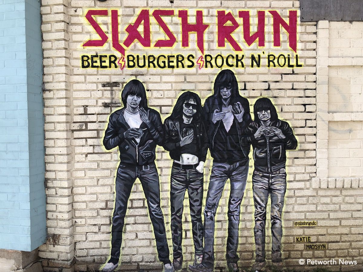 The Ramones mural on the wall outside Slash Run symbolizes Christine's passions for music, and the food.