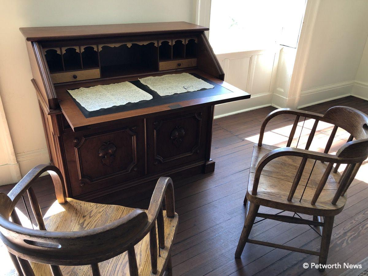 A replica of the desk where Lincoln wrote the Emancipation Proclamation.