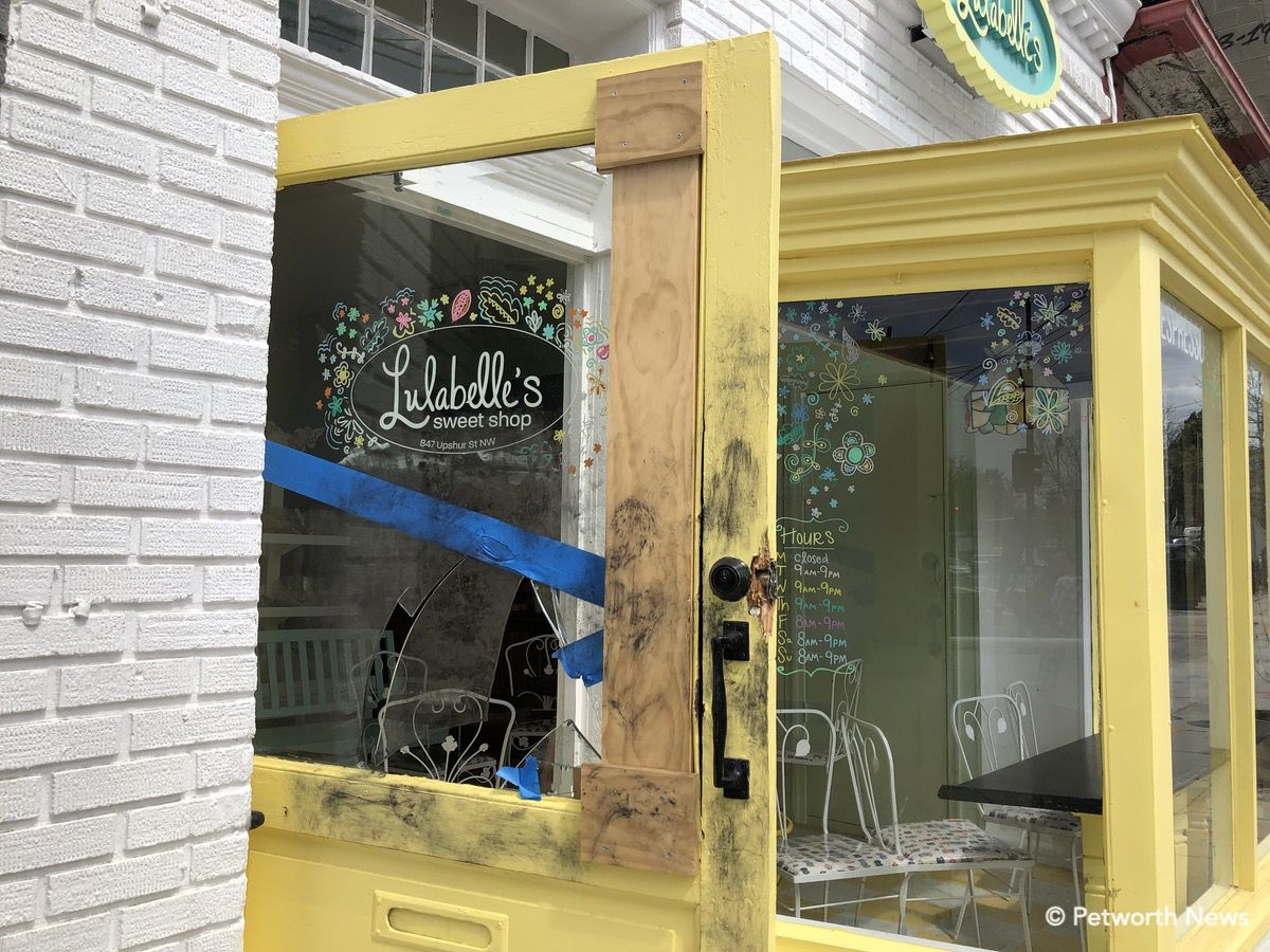 The terrible people who robbed Lulabelle's broke not only the glass but the antique door.