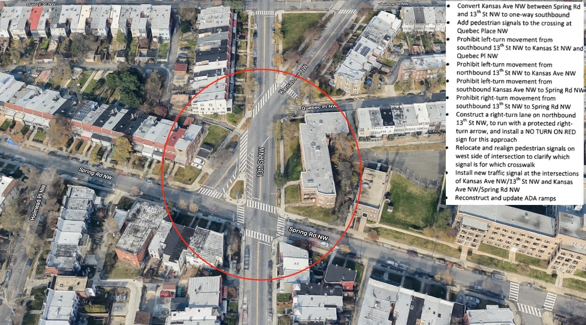 DDOT proposes changes to lanes, lights and traffic direction at this convoluted intersection. (courtesy DDOT)