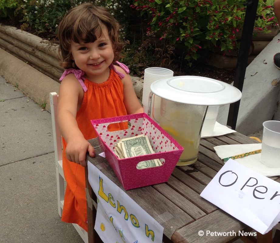A tiny Petworth resident takes her first steps into capitalism with a lemonade stand (it was delicious, by the way)