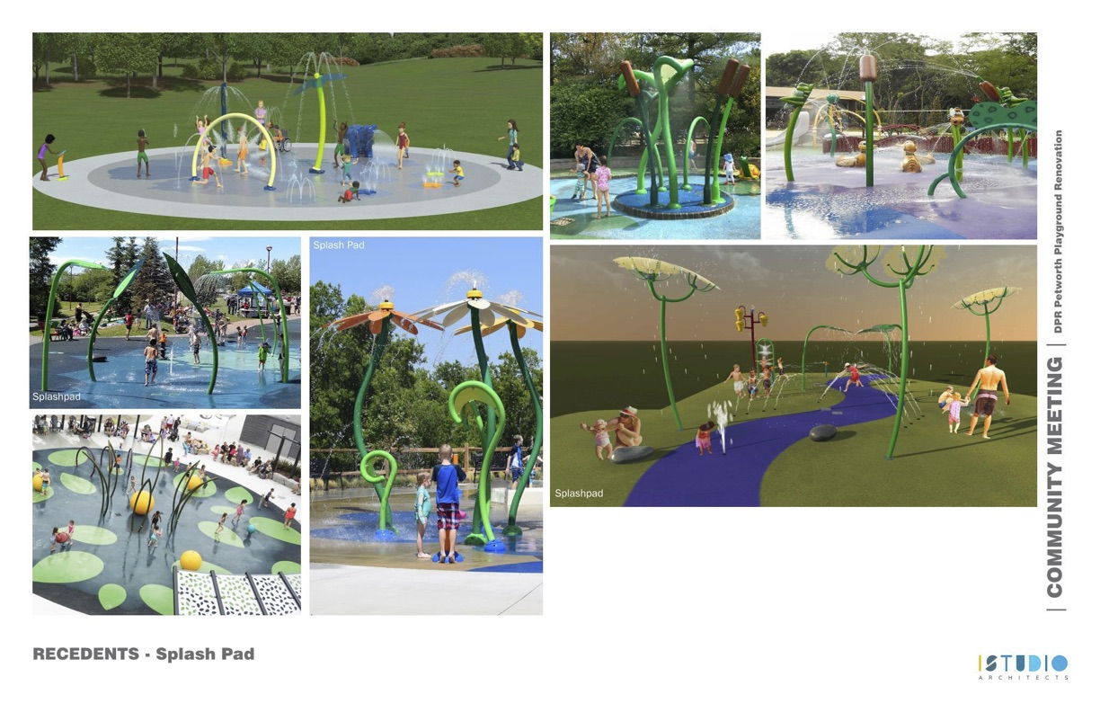 Examples of natural-themed spray park equipment.