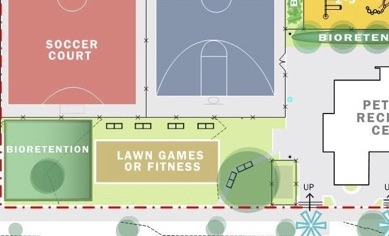 A fitness area, a smaller kids' basketball court or a dog park? Or just a good weed hangout?