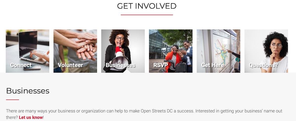 Screen capture of DDOT's Open Streets website