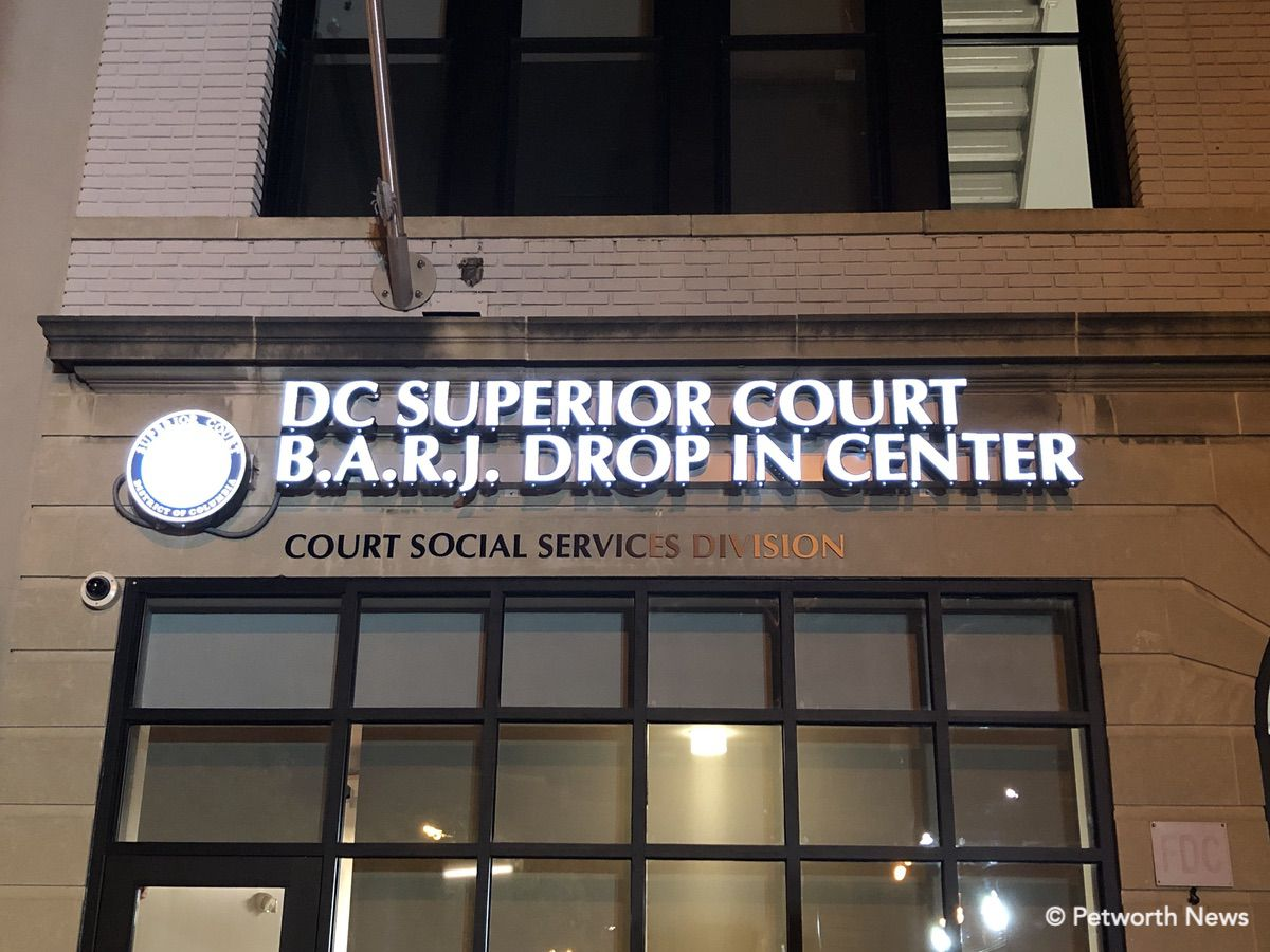 The BARJ sign on the 9th Street NW building.