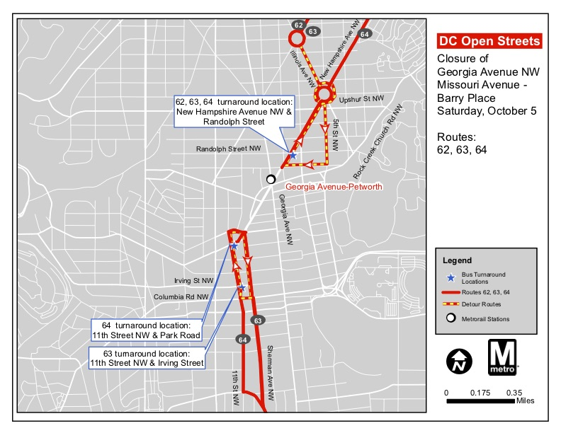 A map of the 62, 63 and 64 bus routes for October 5th during the Open Streets event. (Courtesy DDOT)