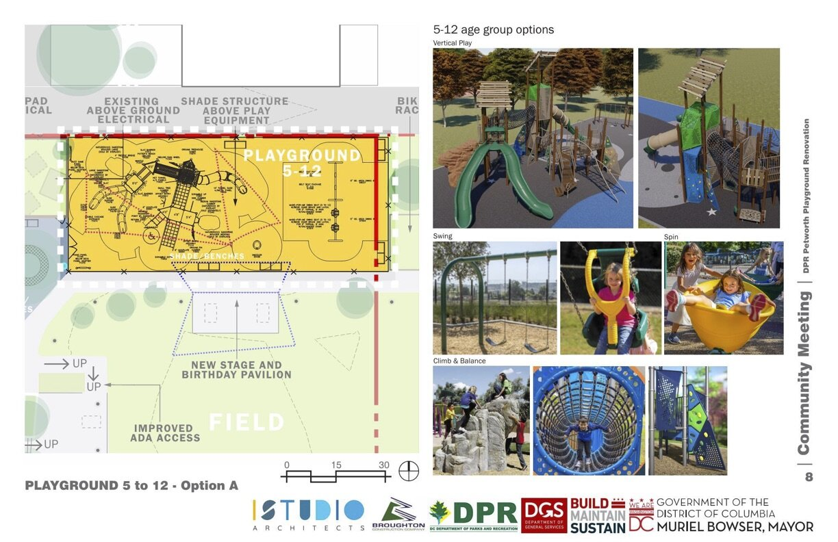 A rendering of the big kids playground and some sample play equipment.