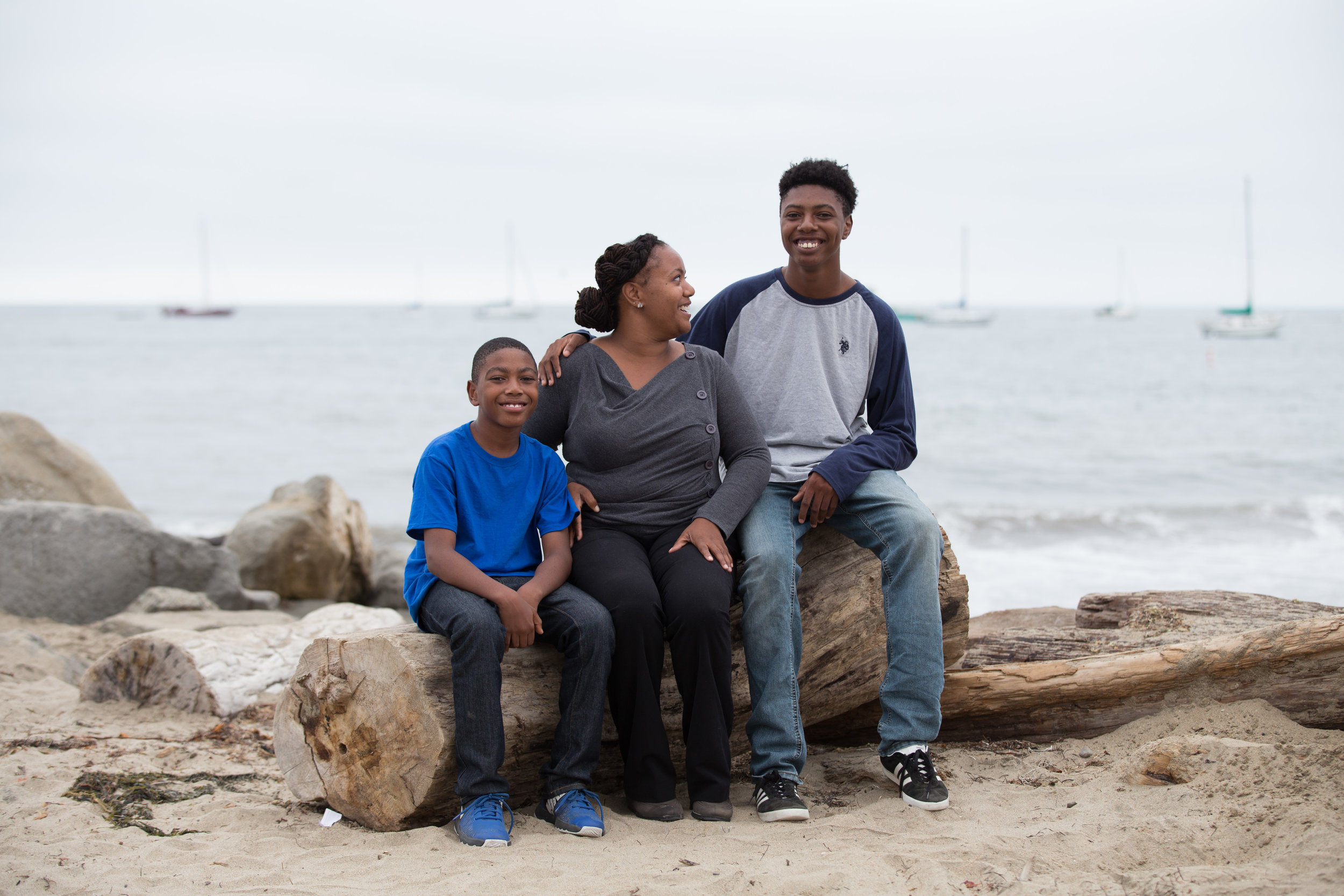 """Ariba with sons Abram and Alijah at Capitola Beach. """"My kids are super-Eastside. Their schools are there, (Capitola beach and village) is where we walk to."""""""