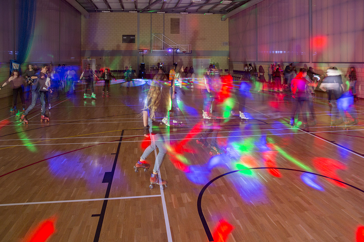 'Glow in the Dark Roller Disco' at The Factory Youth Centre, photography by Attilio Fiumarella