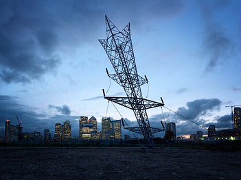 "Alex Chinneck, A Bullet from a Shooting Star (2015)  Greenwich, London  A 35-metre-tall latticed steel sculpture resembling an upside-down electricity pylon for the 2015 London Design Festival. A kind of surreal one-liner, Chinneck's sculpture sits on brownfield land on the Greenwich Peninsula but will soon tower over the 15,000 new homes being built.  The semi-permanent installation by London-based sculptor Alex Chinneck takes its cues from the industrial structures around the River Thames in London. The huge structure leans at an angle and is designed to look like its been shot into the earth.  Over 1180 metres of steel were used to create the latticed structure, which weighs 15 tonnes and sits on foundations dug 25 metres into the ground. A 120 tonne counterweight allows the sculpture to appear to balance on its very narrow tip.  Its positioning on the edge of the River Thames in Greenwich means the sculpture sits against a backdrop of London's iconic Millennium Dome and the remains of the latticed towers that once formed Europe's largest gas-works. ""Like all my work it was a contextual response,"" said Chinneck. ""The backdrop is incredible, it has this visual material language of latticed steel, and that latticed steel and language of cables which is also on the [Millennium dome] and the leaning steel elements."" Text and image source: highlights of this year's London Design Festival selected by @dezeen design editor Dan Howarth. #greatpublicart #publicart #alexchinneck #londondesignfestival #londondesignfestival2015 #pylon #greenwich #architecture #sculpture #art #artoninstagram #artoftheday #artofvisuals"