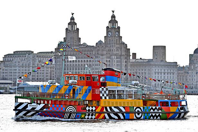 Sir Peter Blake, Everybody Razzle Dazzle (2015) Liverpool  British pop artist Sir Peter Blake - who designed the Beatles iconic Sgt. Pepper's album sleeve created Everybody Razzle Dazzle camouflage pattern for Snowdrop an iconic Mersey Ferry passenger vessel.  The project was co-commission by 14-18 NOW, Tate Liverpool and Liverpool Biennial, in partnership with Merseytravel and National Museums Liverpool.  As well as being a moving artwork, visitors who boarded Snowdrop had the opportunity to learn more about the history of dazzle and the role that the Mersey Ferries took in the First World War in a display developed by curators from National Museums Liverpool and Tate Liverpool.  Dazzle camouflage, also known as razzle dazzle (in the U.S.) or dazzle painting, was a family of ship camouflage used extensively in World War I, and to a lesser extent in World War II and afterwards. Credited to the British marine artist Norman Wilkinson, though with a rejected prior claim by the zoologist John Graham Kerr, it consisted of complex patterns of geometric shapes in contrasting colours, interrupting and intersecting each other. Unlike other forms of camouflage, the intention of dazzle is not to conceal but to make it difficult to estimate a target's range, speed, and heading. Norman Wilkinson explained in 1919 that he had intended dazzle primarily to mislead the enemy about a ship's course and so to take up a poor firing position. Dazzle was adopted by the Admiralty in the UK, and then by the United States Navy. Each ship's dazzle pattern was unique to avoid making classes of ships instantly recognisable to the enemy.  Text and image source:  http://www.wirralglobe.co.uk/news/videonews/144899/read/ / Geoff Davies https://www.1418now.org.uk/commissions/dazzle-ship-scotland-4/ / Ant Clausen / Mark McNulty Artist info: https://www.tate.org.uk/art/artists/peter-blake-763 #sirpeterblake #everybodyrazzledazzle #liverpoolbiennial #dazzleship #greatpublicart #contemporaryart #artoftheday #artofvisuals #camoflauge #design #patterns #geometricart #mersey #sgtpeppers