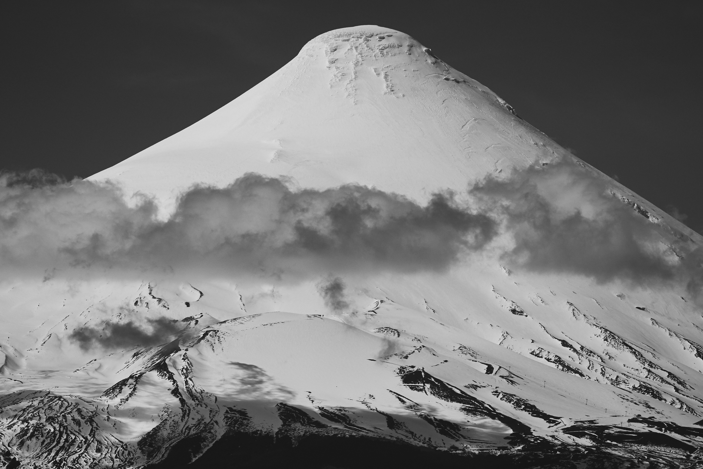 Snow Covered Osorno Volcano BW.jpg