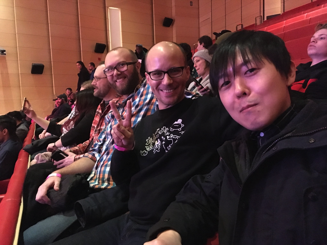 Me with the developers of Treasure Adventure World and Neon Krieger Yamato, hanging out at a Playcrafting event.