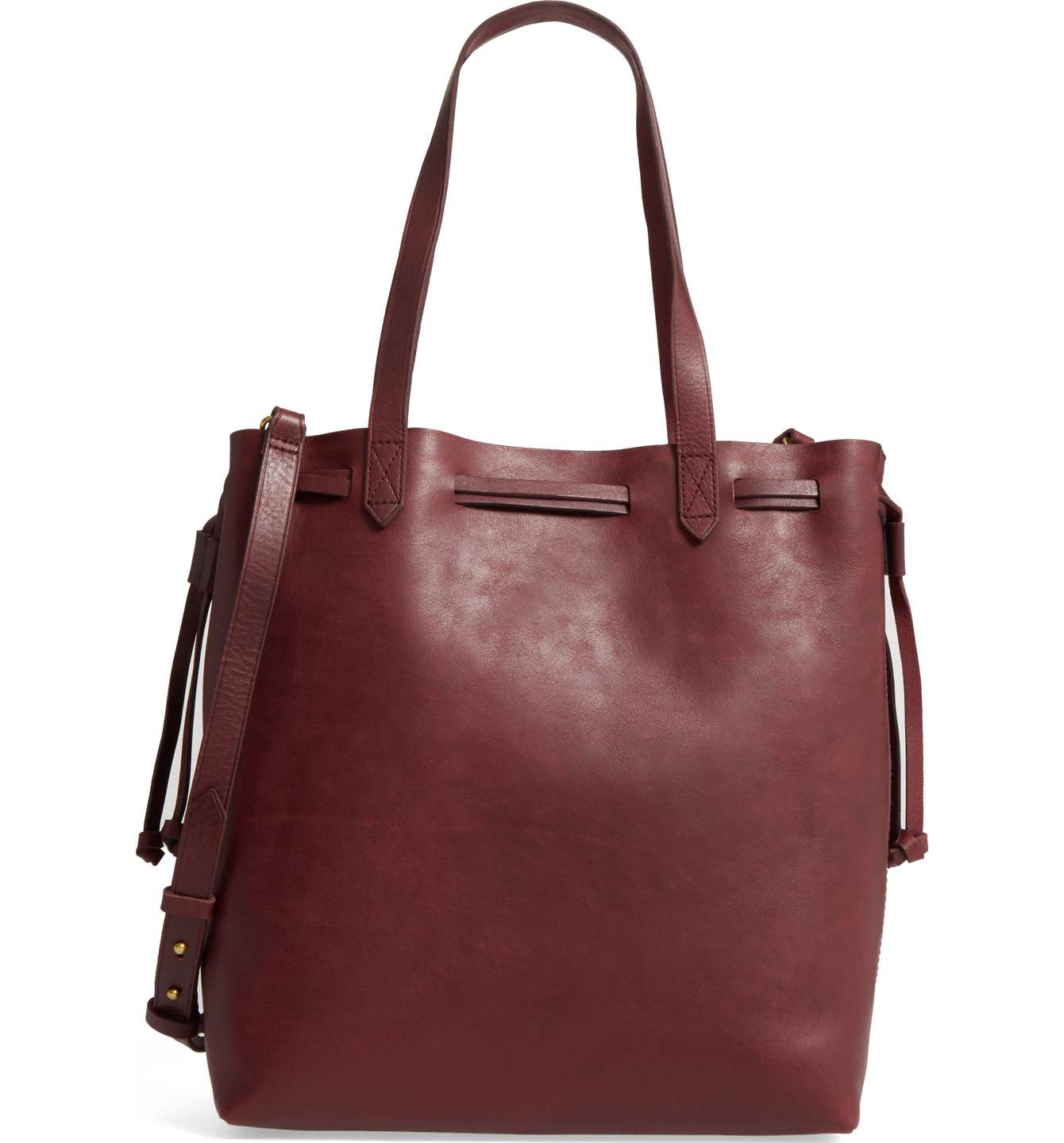 Burgundy Leather Tote - Burgundy is the new neutral! Clean, modern and completely unfussy, this roomy leather tote is updated with a drawstring closure and includes a convenient optional strap for when you want to wear the style hands-free.SPLURGE at $168! / STEAL for $64!
