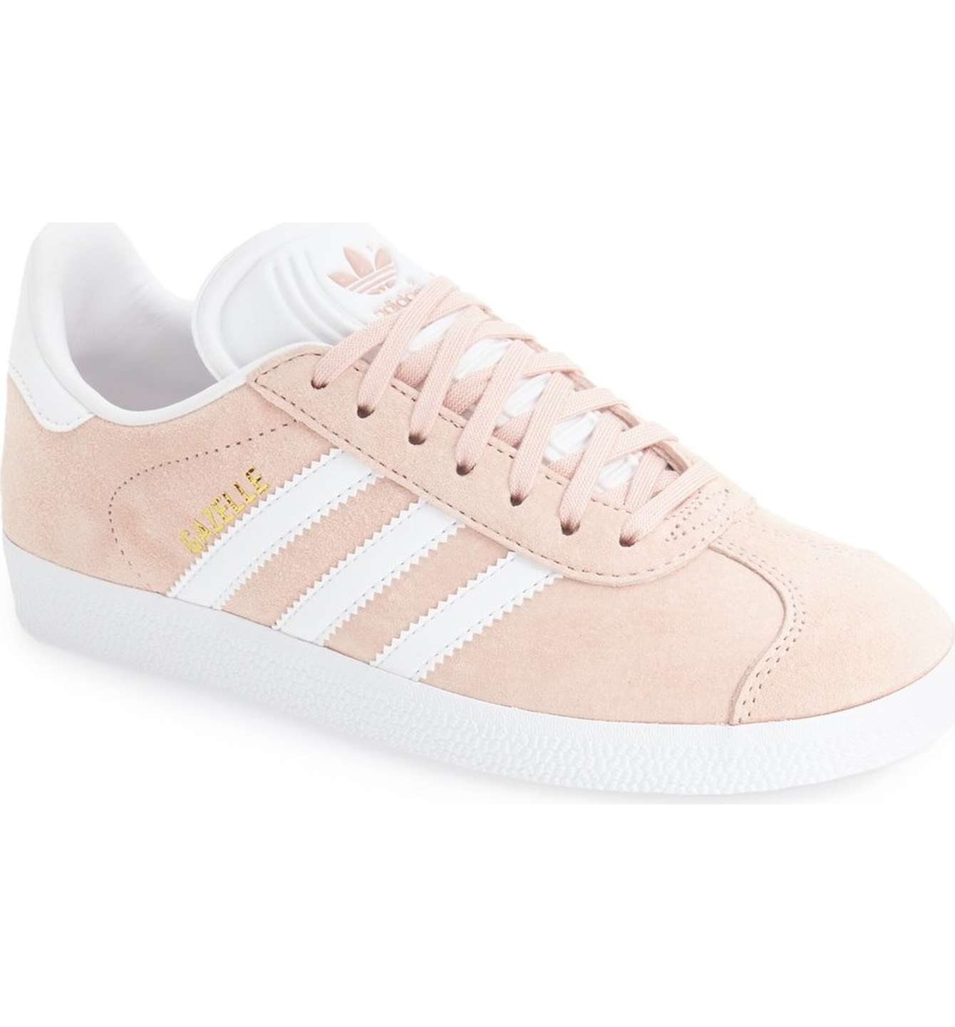 Pink Adidas Gazelle - The ever popular gazelle is oh so darling in this vapor pink! It runs large, so size down by a full size. SPLURGE at $78! / STEAL for $25! (runs small, size half up)