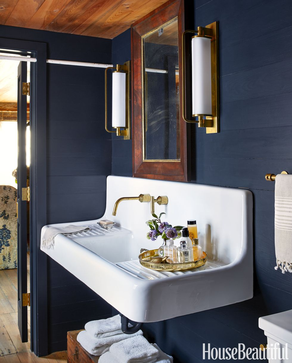 trough+sink+navy+powder+room