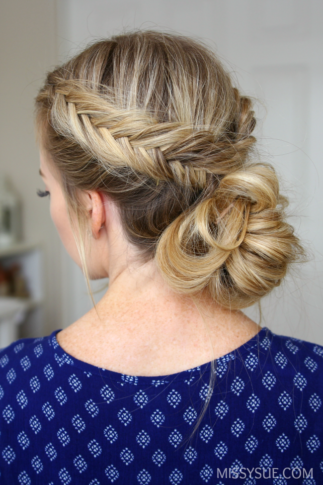Fishtail Braid and Low Bun - How adorable is this fishtail-bun for everyday wear or for an event? Starting with a side part, work your hair into a fishtail down the side, pinning at the end to hold in place. Spray texturizer through the rest of the hair. Pull into a low pony tail and work into a messy fun, pulling pieces here and there for an undone look.