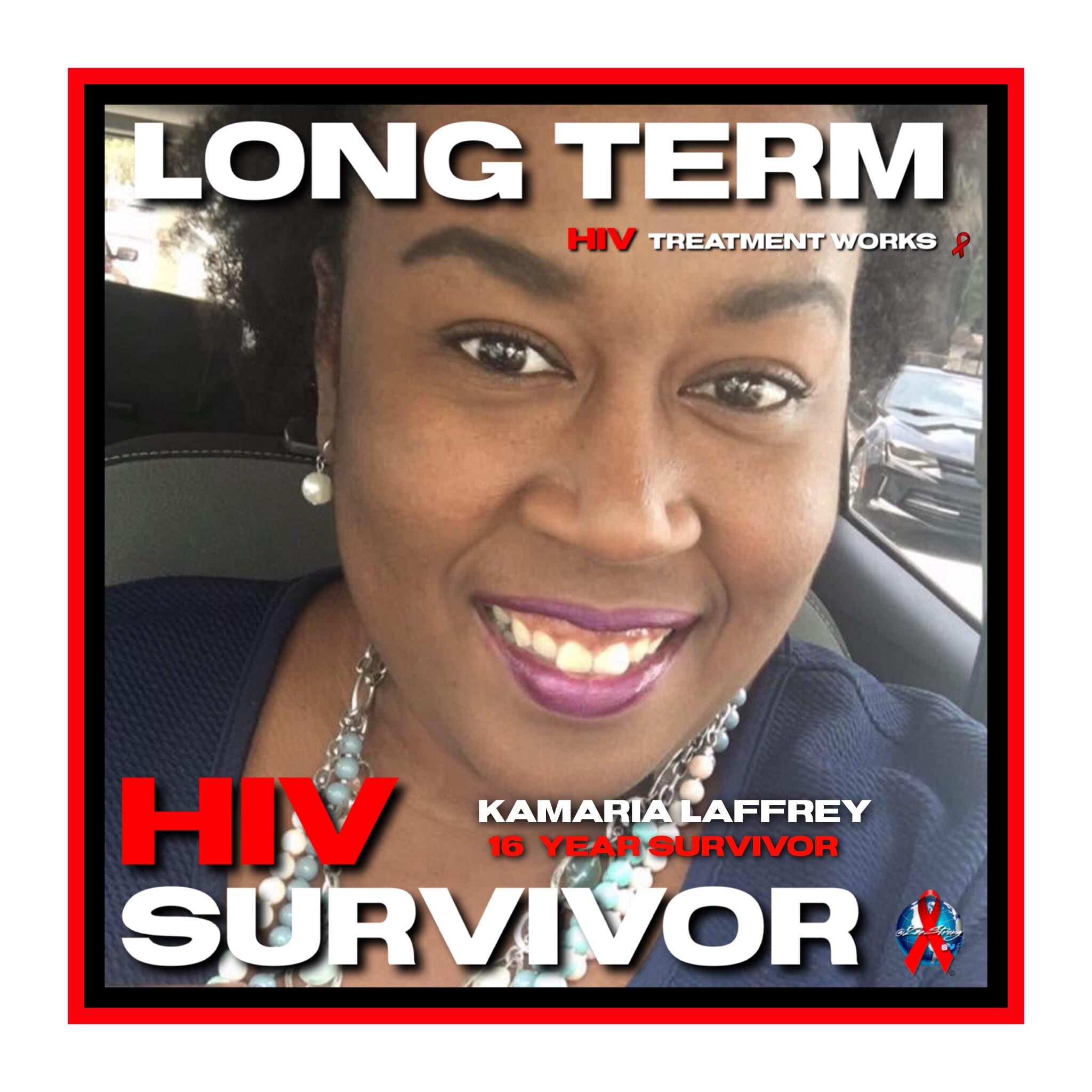 IMAGE: Woman smiling with words in a frame around her face Long Term Treatment Works, Kamaria Laffrey 16 Year Survivor, HIV Survivor  Graphic Design Credit - Zee Strong of the  Digital Living Quilt