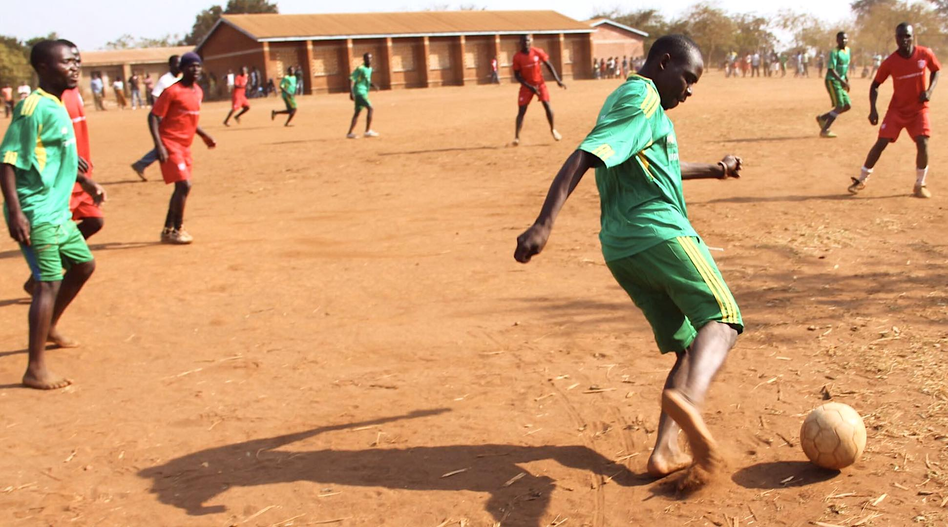 The Rising Stars boys football team play against other youth groups, as well as teams made up of village chiefs.