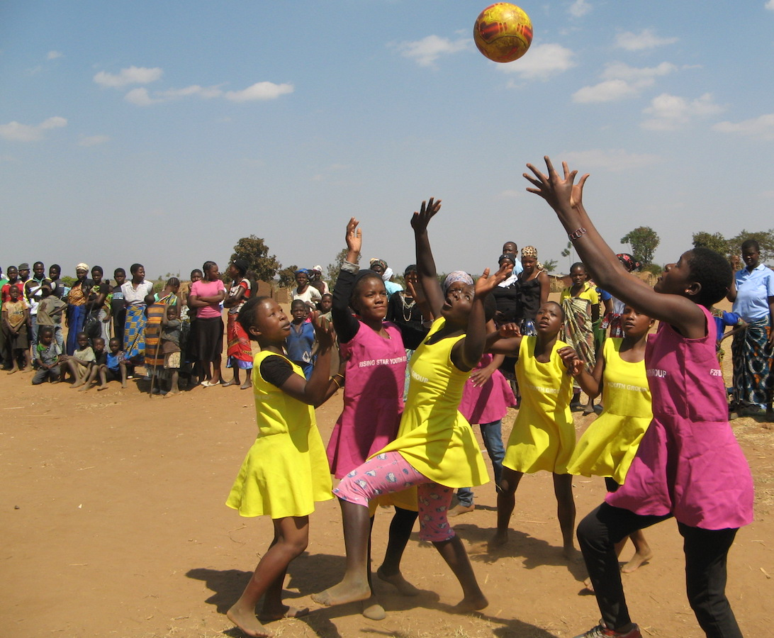 The Rising Stars girls netball team. Playing sports in public is a thrill for the girls.