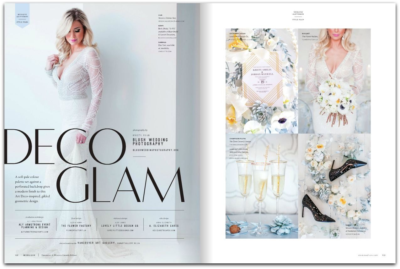 Wedluxe Magazine, Deco Glam Wedding Jewelry by Elsa Corsi www.elsacorsi.com