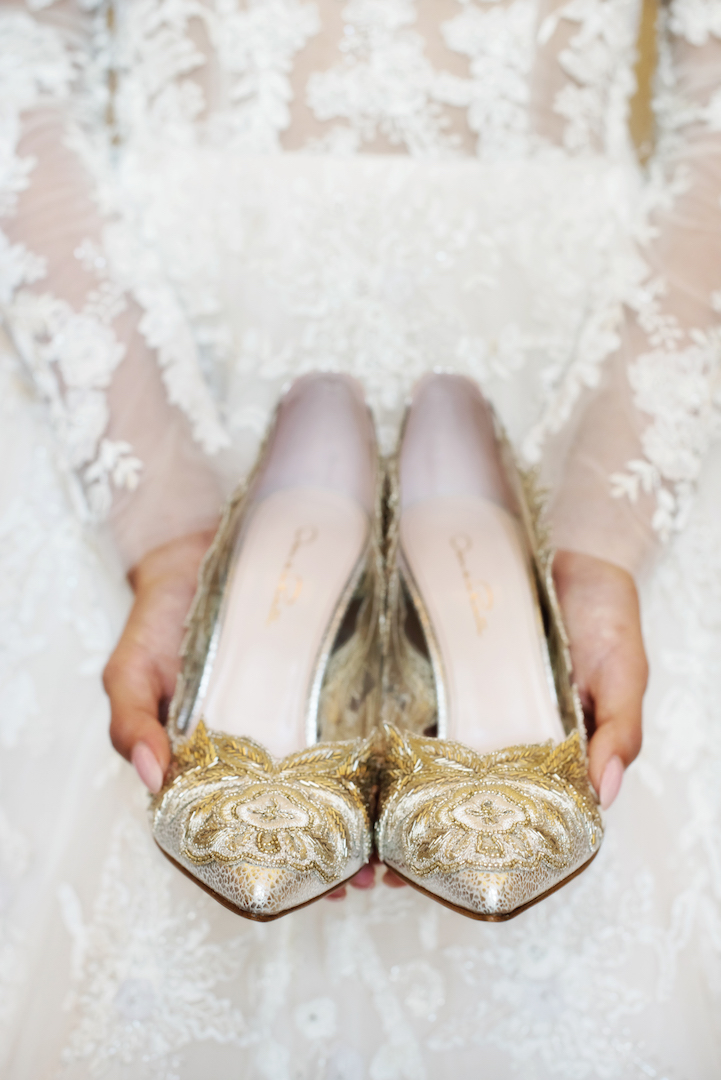 Gold Wedding Shoes, Vancouver Wedding
