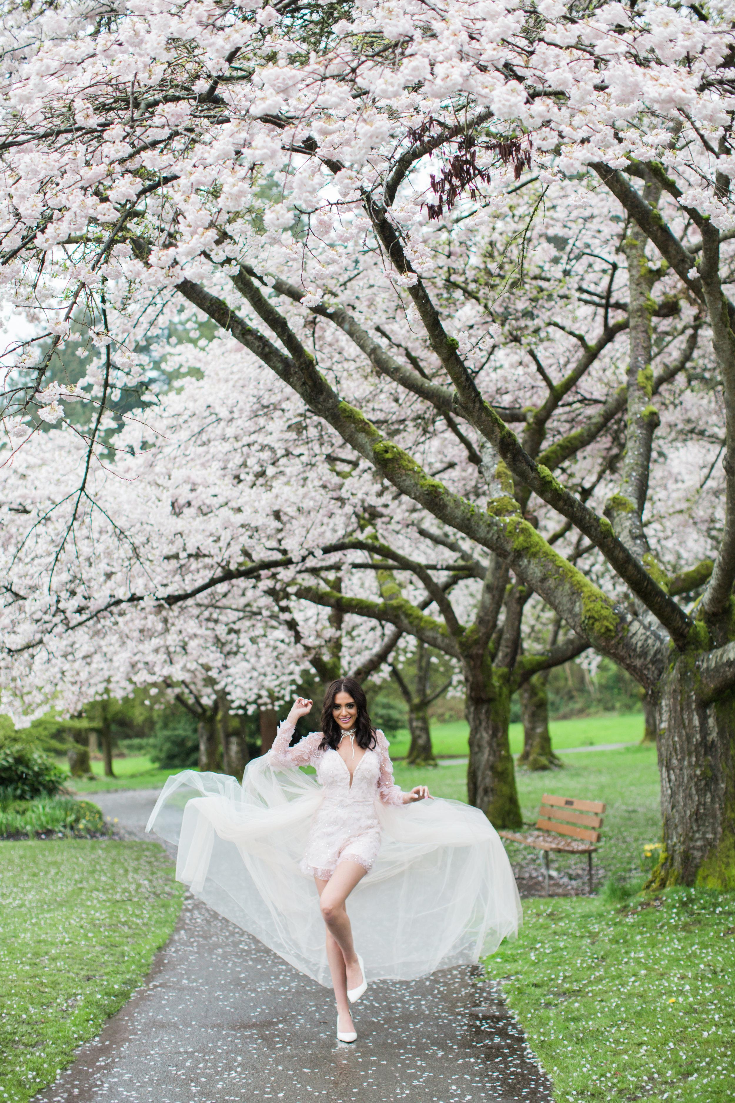 Cherry Blossom Photoshoot, Denise Lin, Elsa Corsi