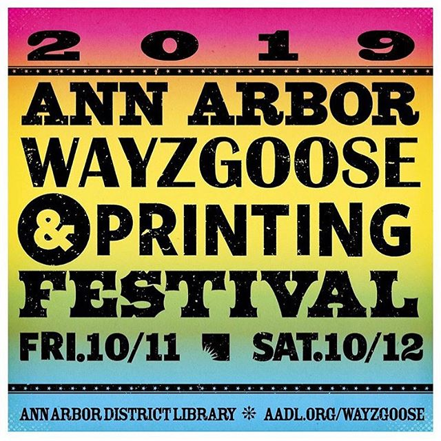 Autumn is filled with printing festivals! #Repost @aadlgram The Ann Arbor Wayzgoose & Printing Festival features some of the most exciting artists working in the field of printing today—from hand-printed goods in the mediums of letterpress, screen printing, and block printing.  Friday and Saturday (October 11-12) meet some of these great artists, shop Saturday's vendor fair, and try your hand at screen printing with free make-and-takes.  Visit aadl.org/wayzgoose for all the info. #a2wayzgoose #letterpress #printmaking #woodcut #screenprinting #woodtype #leadtype #metaltype #typography _ The Ann Arbor District Library hosted our very first public screening after our premiere!